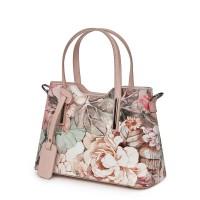Чанта от естествена кожа с флорални мотиви Mariella FF1