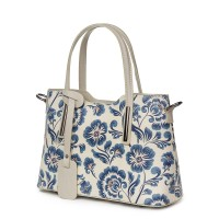 Чанта от естествена кожа с флорални мотиви Mariella FF2