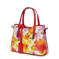 Чанта от естествена кожа с флорални мотиви Mariella FF3