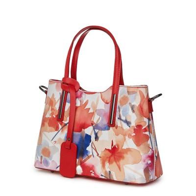 Чанта от естествена кожа с флорални мотиви Mariella FF4