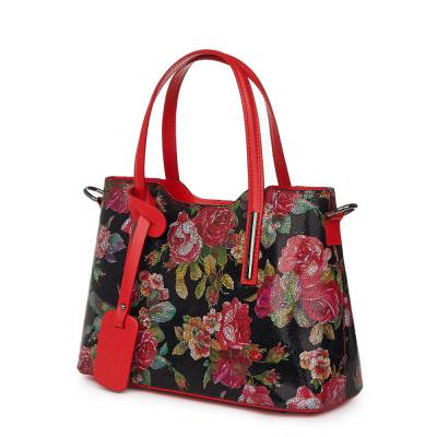Чанта от естествена кожа с флорални мотиви Mariella FF6