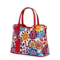 Чанта от естествена кожа с флорални мотиви Mariella FF7