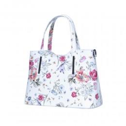Чанта от естествена кожа с цветя Suzan, бели дръжки