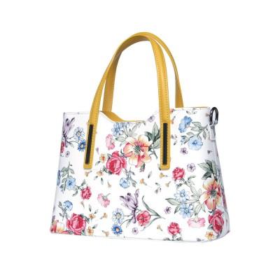 Чанта от естествена кожа с цветя Suzan, жълти дръжки