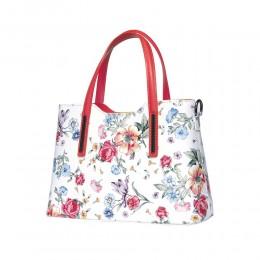 Чанта от естествена кожа с цветя Suzan, червени дръжки