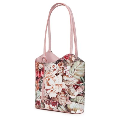 Кожена чанта с флорален мотив Viola FF1