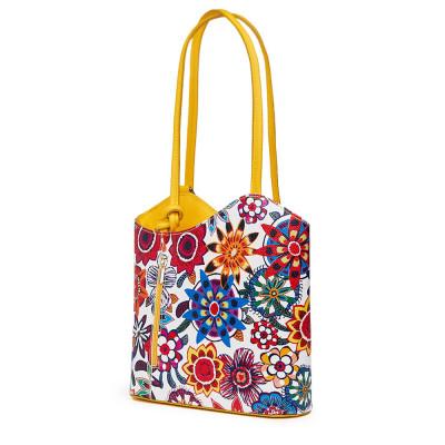 Кожена чанта с флорален мотив Viola FF5, дръжки в жълта