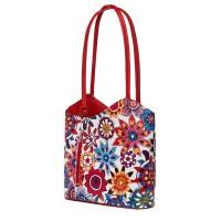 Кожена чанта с флорален мотив Viola FF5, дръжки в червена