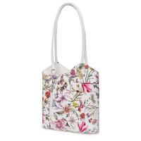 Кожена чанта с флорален мотив Viola FF7, дръжки в бяла