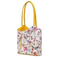 Кожена чанта с флорален мотив Viola FF7, дръжки в жълта