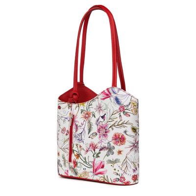 Кожена чанта с флорален мотив Viola FF7, дръжки в червена