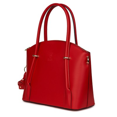 Дамска чанта от естествена кожа Gabriella, червена