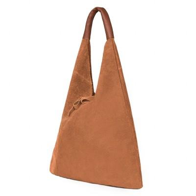 Дамската велурена чанта Dominica, коняк