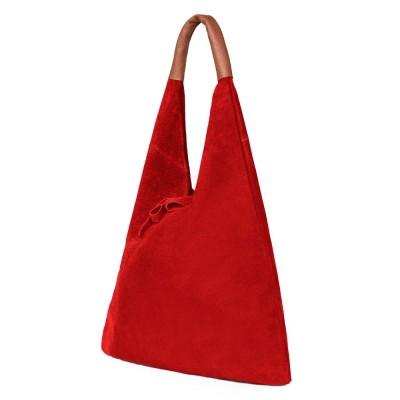 Дамската велурена чанта Dominica, червена