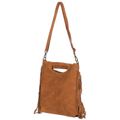Чанта от велур Renata, кафява