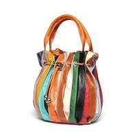 Дамска чанта от естествена кожа  Linda, оранжева дръжка
