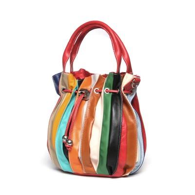 Дамска чанта от естествена кожа  Linda, червена дръжка