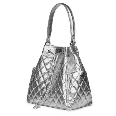 Капитонирана кожена чанта Felice, сребърна