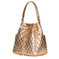 Капитонирана кожена чанта Felice, златна