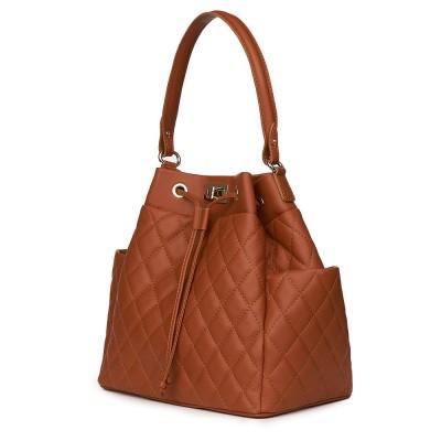 Капитонирана кожена чанта Felice, коняк