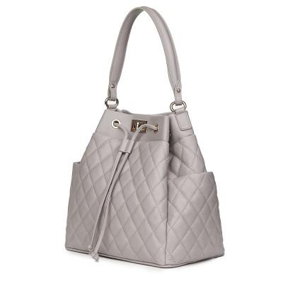 Капитонирана кожена чанта Felice, сива