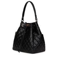 Капитонирана кожена чанта Felice, черна