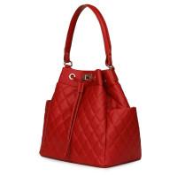 Капитонирана кожена чанта Felice, червена