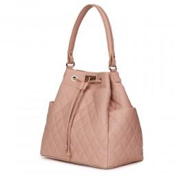 Капитонирана кожена чанта Felice, розова