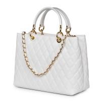 Ватирана кожена чанта Gisella, бяла