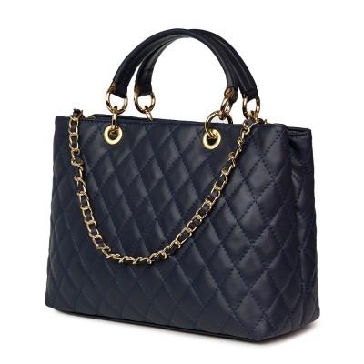 Ватирана кожена чанта Gisella, тъмносиня