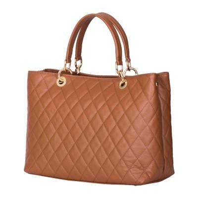 Ватирана кожена чанта Gisella, коняк