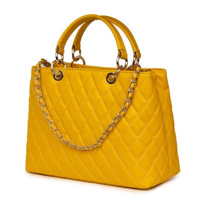 Ватирана кожена чанта Gisella, жълта