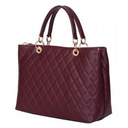 Ватирана кожена чанта Gisella, бордо