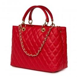 Ватирана кожена чанта Gisella, червена