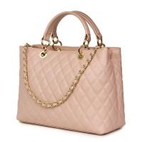 Ватирана кожена чанта Gisella, розова