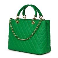 Ватирана кожена чанта Gisella, зелена