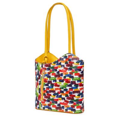 Кожена чанта Viola многоцветен, дръжки в жълта