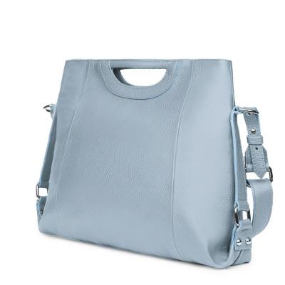Дамска чанта от естествена кожа Agatha, светло синя