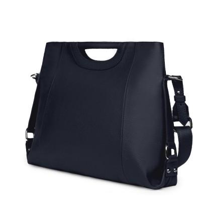 Дамска чанта от естествена кожа Agatha, тъмносиня