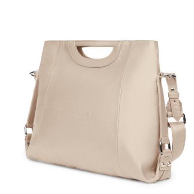 Дамска чанта от естествена кожа Agatha, светло бежова