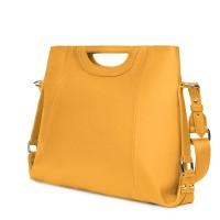 Дамска чанта от естествена кожа Agatha, жълта