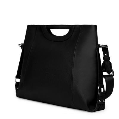 Дамска чанта от естествена кожа Agatha, черна