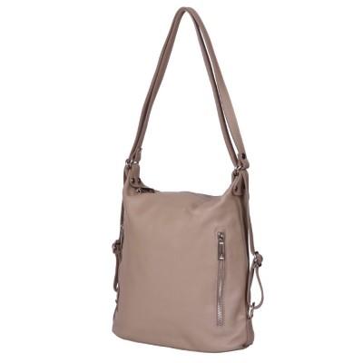 Чанта-раница 2-в-1 от естествена кожа Alessia, бежова
