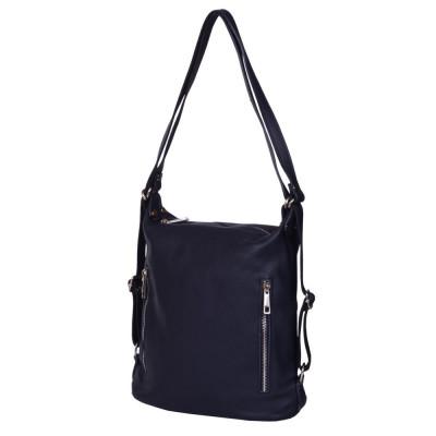 Чанта-раница 2-в-1 от естествена кожа Alessia, тъмносиня