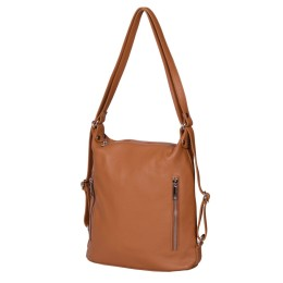 Чанта-раница 2-в-1 от естествена кожа Alessia, коняк