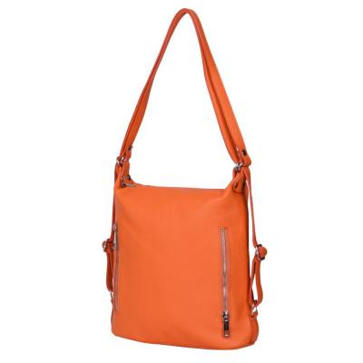 Чанта-раница 2-в-1 от естествена кожа Alessia, оранжева