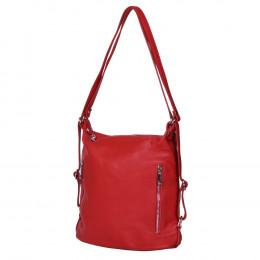 Чанта-раница 2-в-1 от естествена кожа Alessia, червена