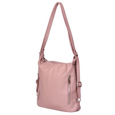 Чанта-раница 2-в-1 от естествена кожа Alessia, розова