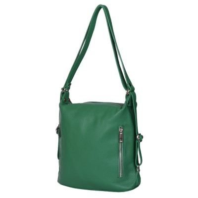 Чанта-раница 2-в-1 от естествена кожа Alessia, зелена