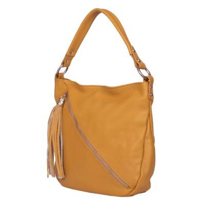Дамска чанта от естествена кожа Alma, жълта